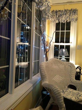 The Bard and Breakfast: Sunroom at night. Great for reading, relaxing after eventful day.