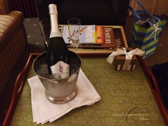 Hotel Commonwealth: Free bottle of Champagne and chocolates just because we mentioned it was our wedding night!