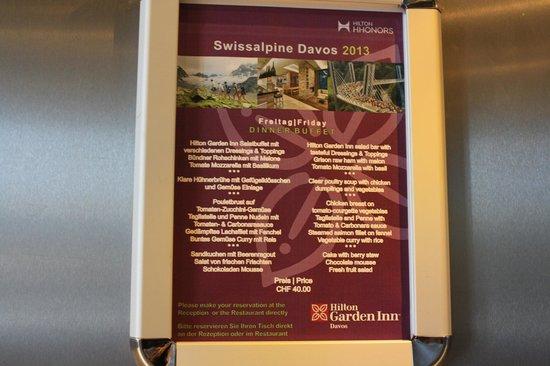 Hilton Garden Inn Davos: Menù di venerdì sera