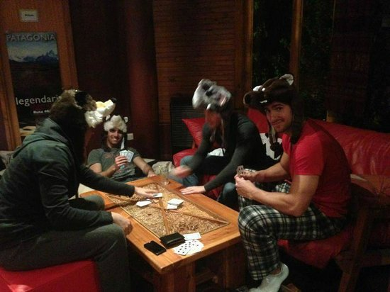 Hostel 41 Below: Playing cards in the living room