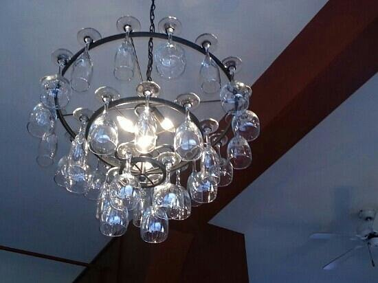 Cow Bay Cafe: lovely atmosphere and neat decor ideas, such as this wine glass chandelier