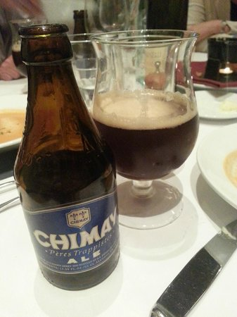 Left Bank Santana Row: Chimay Beer (with the first wide mouthed glass)