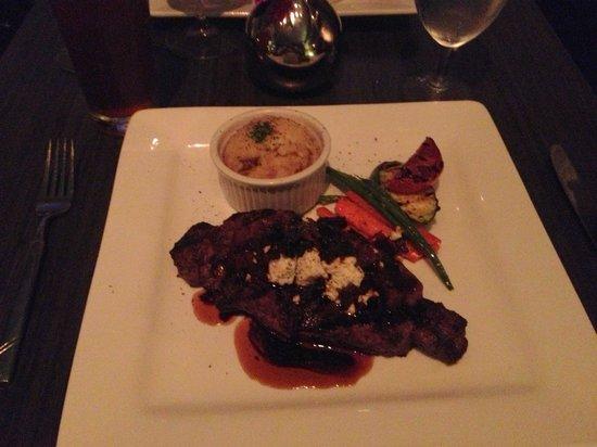 Mezzaluna: New York Strip with Bacon Relish and Bleu Cheese