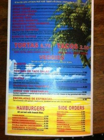 Puerto Vallarta : menu