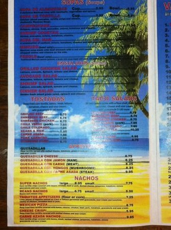 Puerto Vallarta: menu