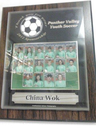 China Wok: 2012 Sponsorship Plaque
