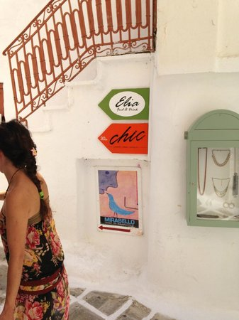 Elia Food & Drink: Walking through the streets, you find a sign pointing you to the restaurant