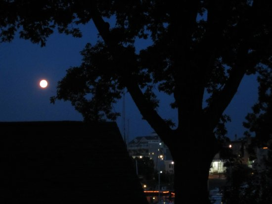 The Last Resort B & B Inn: full moon over harbor from back deck
