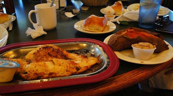 Sizzling Grill: Stuffed Grouper w/baked sweet potato