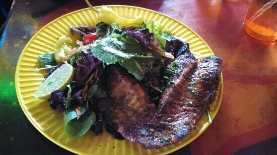Walt'z Fish Shak: blackend Snapper over mixed green salad.