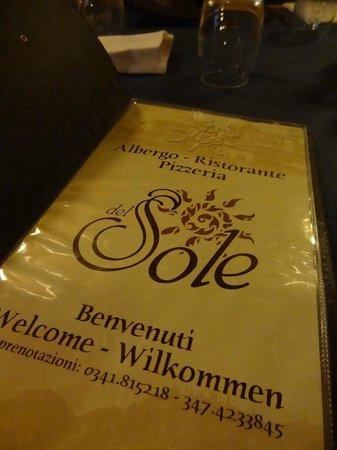 Albergo Del Sole: menu