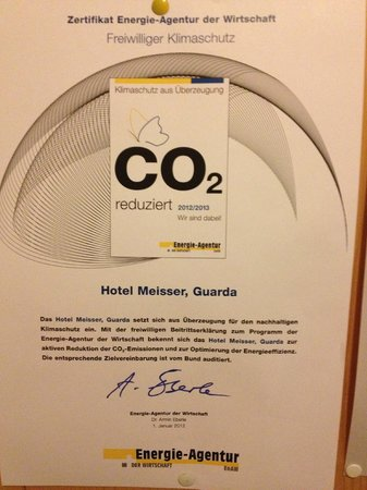 Hotel Meisser : their carbon policy!
