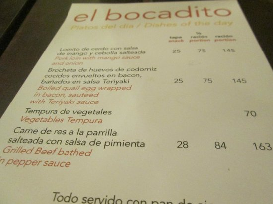 El Bocadito Tapas y Cervezas: Here's a look at the menu