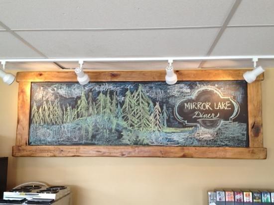 Mirror Lake Diner: the chalkboard