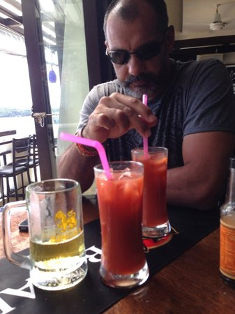 Billabong Surf Club: The Bloody mary's have arrived..just in time after the Singha draft, ahh yes.. hangover BE GONE