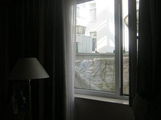 Hotel Europäischer Hof: Deuxième fenêtre obstruée par ??? protégé par un bâche très moche.