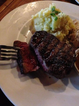 The Shack Bar And Grill: Filet cooked to absolute PERFECTION, melt in your mouth- medium rare