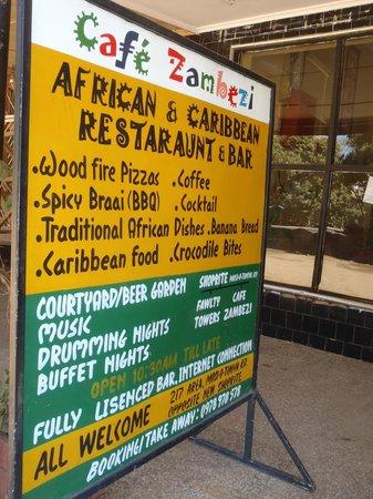 Cafe Zambezi: local and international meals