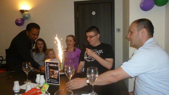 Viraaj Restaurant: Tom's birthday