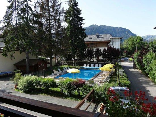 Au Vieux Moulin : belle vue du 1er étage sur piscine (mais bruit travaux sur chalet voisin quand j'y séjournais)