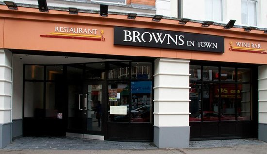 Browns in Town: Outside of restaurant