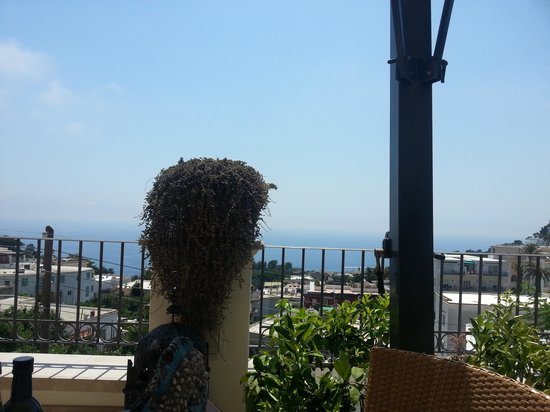 Capri Tiberio Palace: View from the terrace at a table