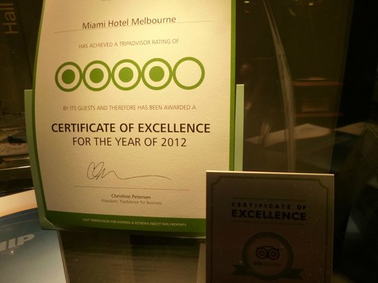 Miami Hotel Melbourne: We Have A winner