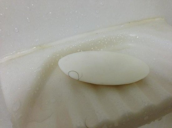 Quality Inn & Suites: Soap with hair from uncleaned bathroom