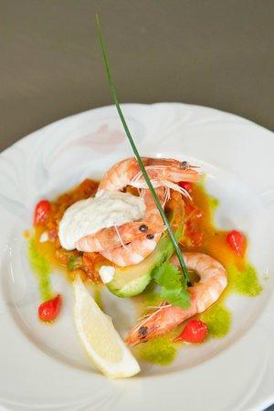 Restaurant Beau Jardin : gaspacho aux crevettes