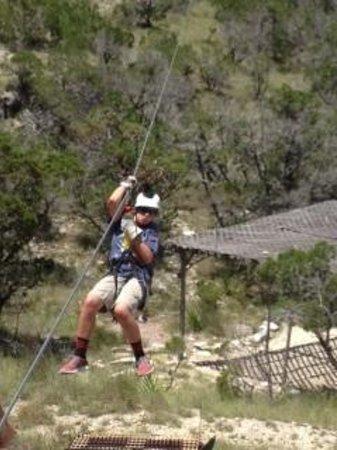 Wimberley Zipline Adventures: Cooper comming for a landing..