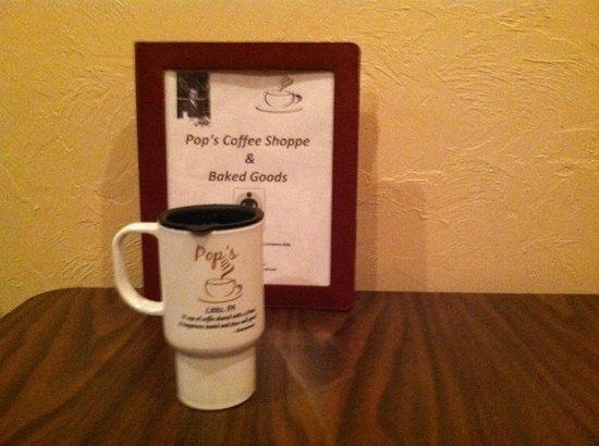 Travel Mug & Booklet about Pop's Coffee Shoppe