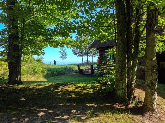 Scott's Superior Inn & Cabins: Log home looking toward the lake.