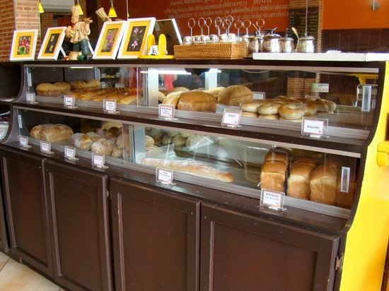 Bread display case at La Ceiba Bakery