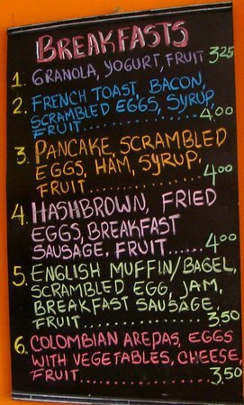 Menu board at La Ceiba Bakery