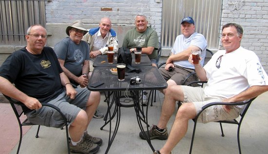 Clear Creek Brewing Company: Me (Frank Bodden, green shirt) and my buddies in patio.