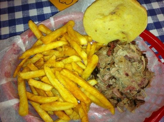 Heavenly Pig: large pork sandwich with fries