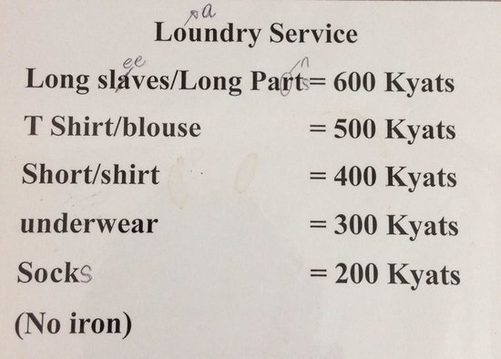 Hninn Si Budget Inn: They also provide laundry service