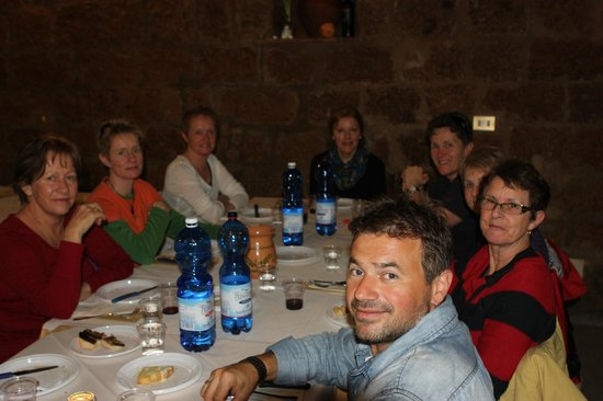 Mad About Tuscany: Carlo and us at another memorable lunch - taken by Colin, the only male on the tour - lucky man!
