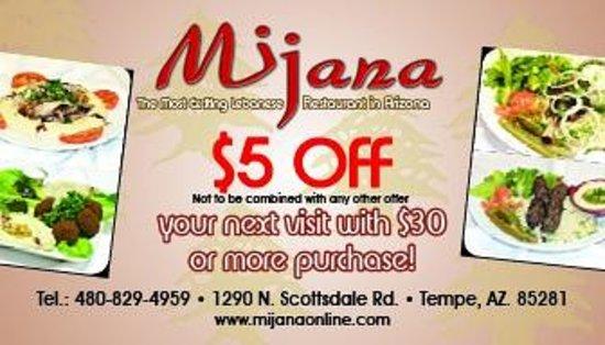 Mijana Restaurant, Tempe - Menu, Prices