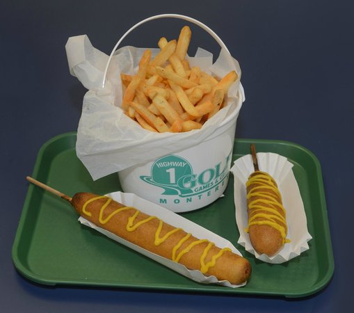 Highway 1 Golf Games and Grub: foot long corn dogs