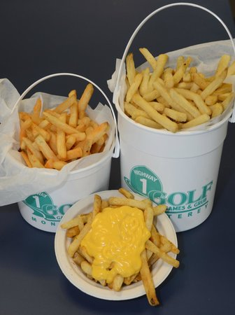 Highway 1 Golf Games and Grub: flavored fries & cheese sauce