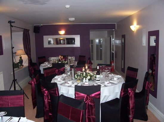 The Old Mill Hotel & Restaurant: table set for wedding breakfast