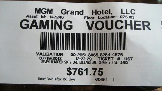 MGM Grand Hotel and Casino: putting in a 20 dollarnote and after 5 minutes .....won nearly 800 dollars