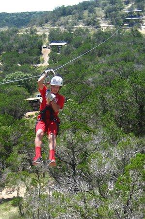 Wimberley Zipline Adventures: Zach on the Zipline