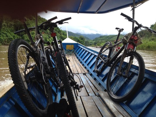 SpiceRoads Cycle Tours - Chiang Mai Day Tours: Boat ride interlude.