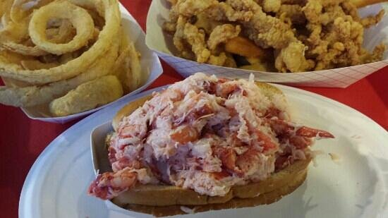 The Beach Plum: Lobster roll, clam basket and onion rings.