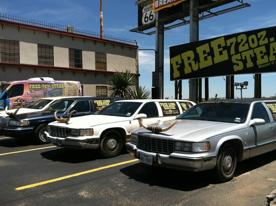 Big Texan Opry : Limos with cattle horns on hoods.