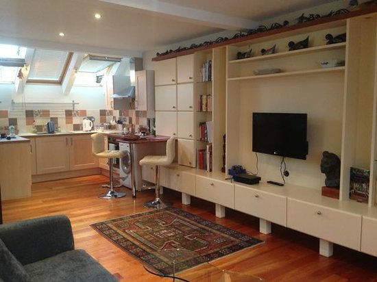 Kings Boutique Hotel: Long view of living/dinette/kitchen studio area