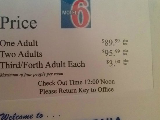 Motel 6 Sunnyvale North : Yep, those are prices at a Motel 6!