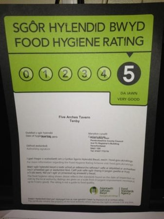 The Five Arches Tavern: food hygiene rating 5*